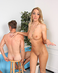 Audrey Elson - Tall slut gets some black cock while her useless husband watches