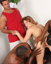 17 Aurora Snow takes on a huge black dicks to stretch her pussy while her cuckold boyfriend watch