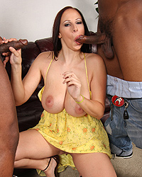 Gianna Michaels - Voluptous white girl gets mouth and pussy overwhelmed by black cocks as her husband watches