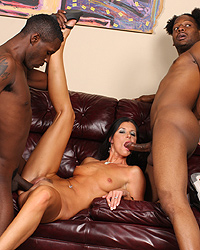 22 India Summer having interracial gangbang with hung black studs while her cuckold husband watch