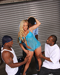 15 Blonde girl Serena Marcus get her pussy split wide open by massive black dicks while her boyfriend watch